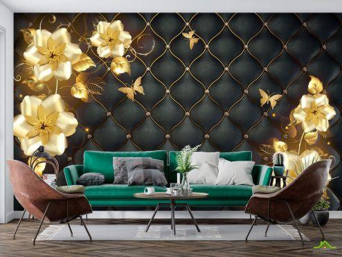 3Д  Фотообои 3д золотые цветы топлер