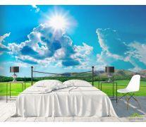 Фотообои Солнце, трава, тучи