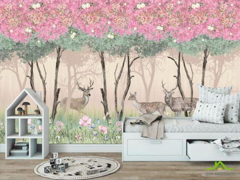 обои в детскую Фотообои Олени в розовом лесу