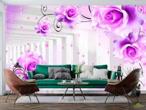 3Д  Фотообои Фиолетовые цветы в тоннеле