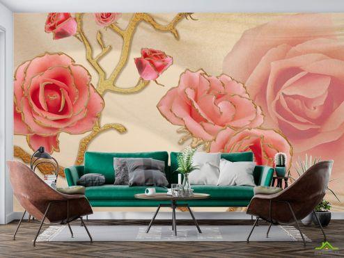 3Д  Фотообои Розы купить