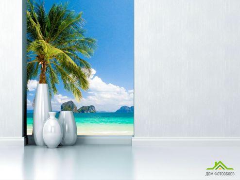 обои Природа Фотообои пальма на берегу моря