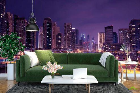 Фиолетовые  Фотообои Ночь, вода, Чикаго