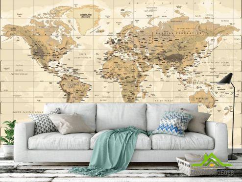 обои Карта Фотообои Коричневая карта мира