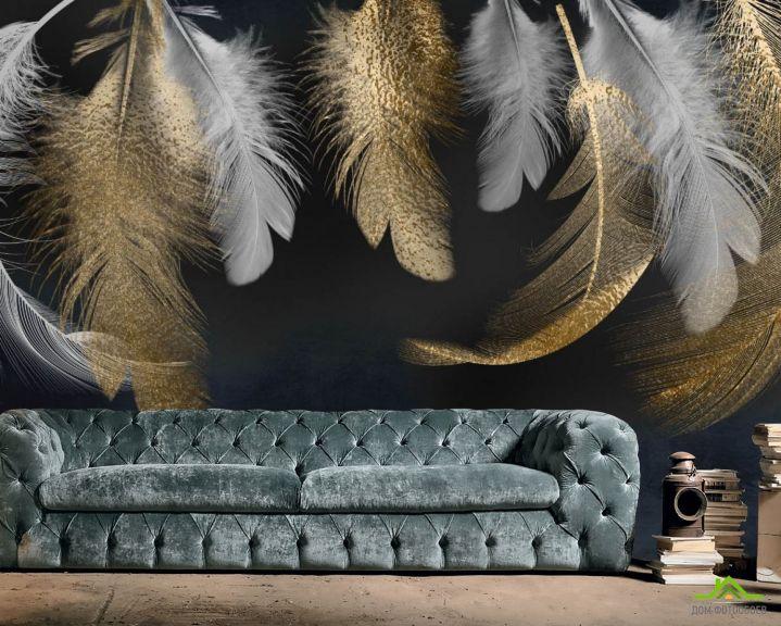 Фотообои Золотые перья 3д