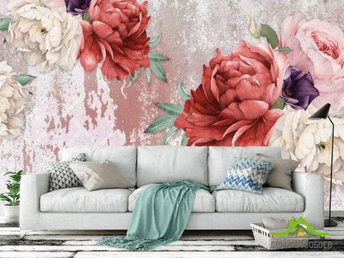 обои Цветы Фотообои Винтажные пионы