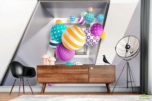 3Д  Фотообои Разноцветные шары 3д