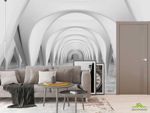Фотообои в коридор и прихожую по выгодной цене Фотообои 3д тоннель серый