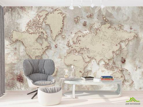 в офис Фотообои 3д карта мира