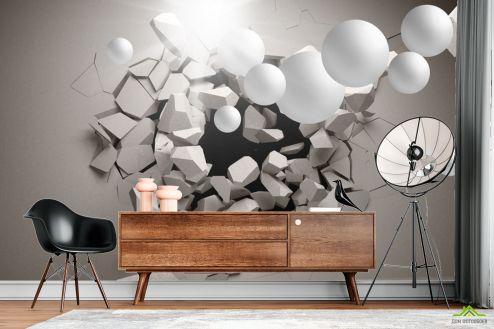 3Д  Фотообои 3д стена с шарами