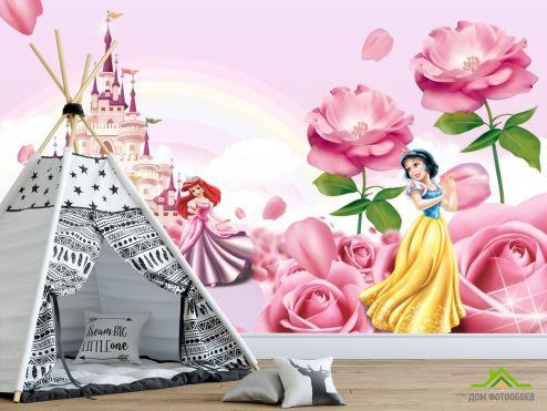 Фотообои в детскую по выгодной цене Фотообои Розовый замок с принцессами