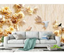 Фотообои Стеоскопические цветы и голуби