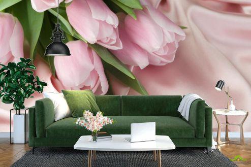 Тюльпаны Фотообои розовые тюльпаны на розовой ткани