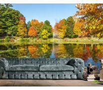Фотообои осень деревья и фонтан над озером