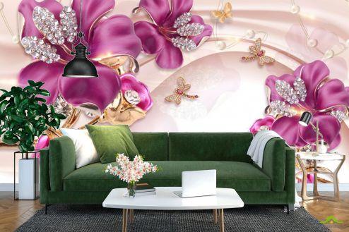 3Д  Фотообои Шикарные розовые брошки купить