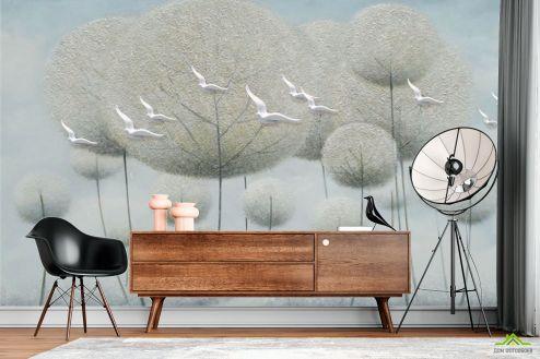 3Д  Фотообои Одуванчики с птичками барельеф