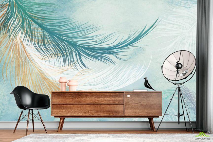Фотообои Векторные перья голубые
