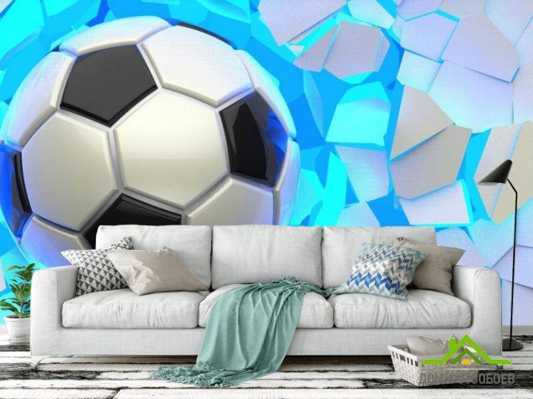 Фотообои мяч разрушает стену