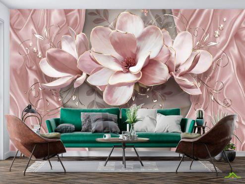 3Д  Фотообои Розовые 3д цветы