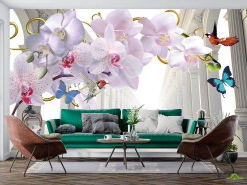 Серые  Фотообои 3d орхидея и корридор