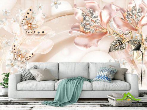обои цветы 3d Фотообои Розовые брошки на атласе