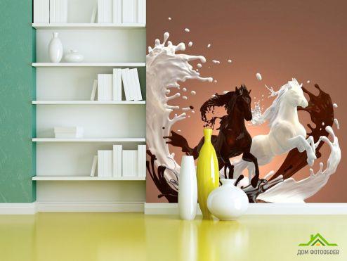 Коричневые обои Фотообои Молоко, шоколад