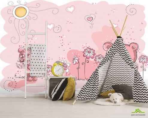 Розовые  Фотообои Мишки