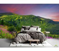 Фотообои Фиолетовый закат на поляне