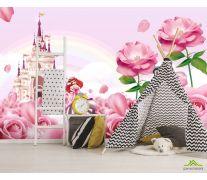 Фотообои Розовый замок с принцессами