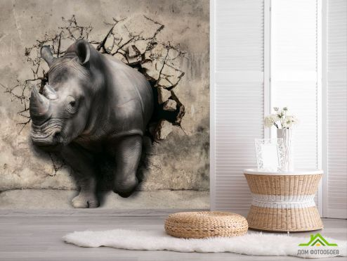 Коричневые  3д фотообои Носорог