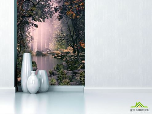 обои Природа Фотообои туман в лесу над речкой