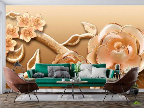 3Д барельеф Фотообои Объёмные 3d цветы купить