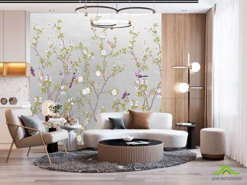 Восточный стиль Фотообои Шанаруази на серебрянном фоне
