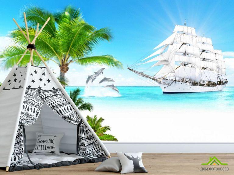 Фотообои Пиратский корабль в море
