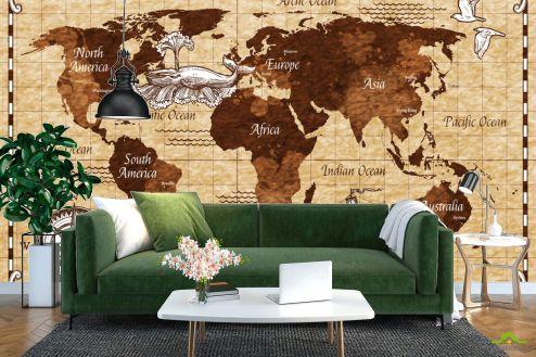 Фотообои карта Мира по выгодной цене Фотообои Коричневая винтажная карта