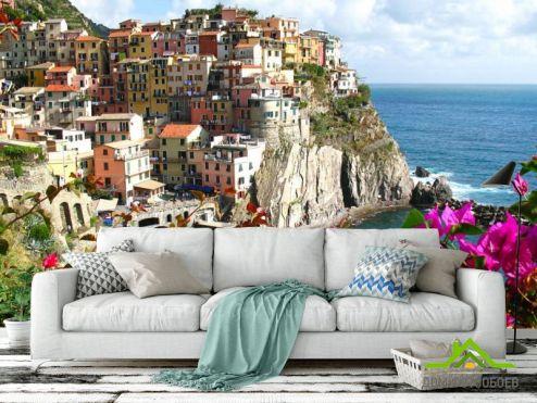 Фотообои Море по выгодной цене Фотообои Город на скале у моря