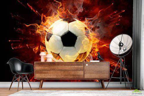 Фотообои Спорт по выгодной цене Фотообои Мяч в огне