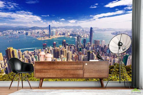 Фотообои Город по выгодной цене Фотообои Вид сверху на мегаполис