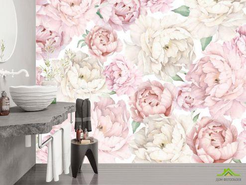 Фотообои в ванную по выгодной цене Фотообои Розовые пионы
