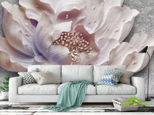 3Д обои Фотообои Барельефный цветок