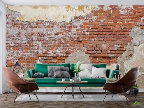лофт Фотообои Старая кирпичная стена с побелкой