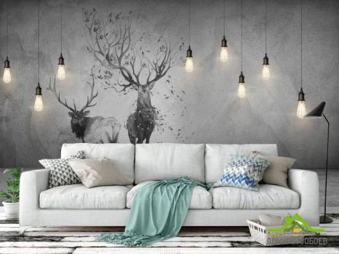 лофт Фотообои Стена с лампами и оленем