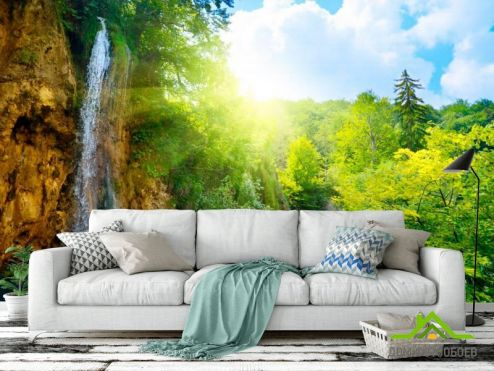 Водопад Фотообои Водопад, зелень