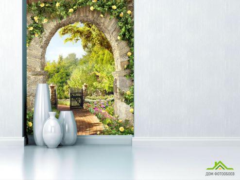 обои Фрески Фотообои желтые розы на каменной арке