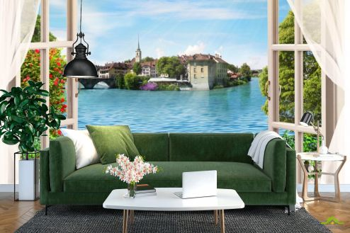 Фотообои Вид из окна по выгодной цене Фотообои Вид на морской город