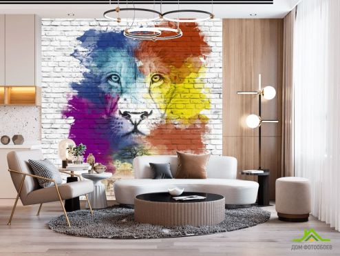 Фотошпалери Тварини Фотошпалери Акварельний лев