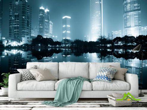 Современный город Фотообои Дома, вода, туман