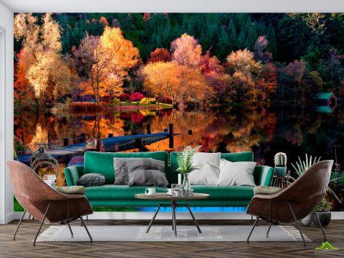 Фотообои Природа по выгодной цене Фотообои Под осень, лодка