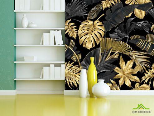 тропические листья Фотообои Тропические золотые листья