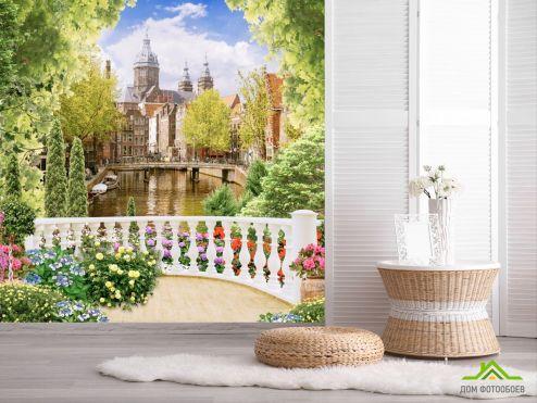 Вид из окна Фотообои вид на замок с балкона